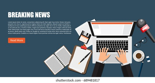 Breaking news, Success Journalist, Mass media store Concept, Modern Flat designed vector illustration