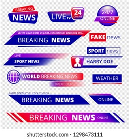 Breaking news. Television channel broadcasting service graphic headpiece banners vector template