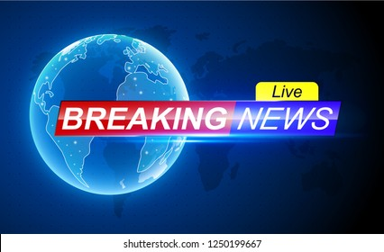 Breaking news template. Holographic globe on world map.