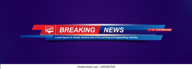 Breaking News template title with technology background for screen TV channel. Flat vector illustration EPS10
