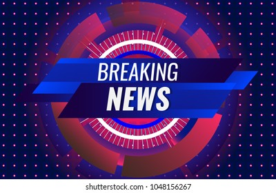 Breaking news TV headline banner with digital technological element on dotted blue background