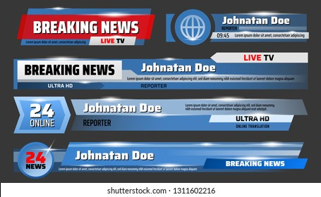 Breaking news and TV screensavers, glass, translucent templates. Vector urgent announcement ticker, global event report, round clock service. Media and broadcast, publication and communication