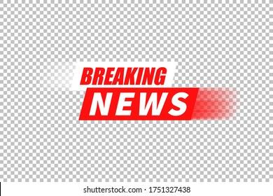 Breaking news vector background, tv channel emergency broadcasting headline backdrop