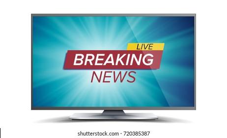 Breaking News Vector. Blue TV Screen. World Global News Concept. Isolated Illustration