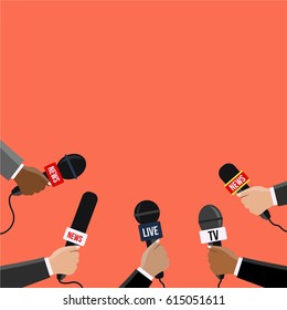 breaking News vector Journalism flat design style. Reporters in live holding microphones illustration on TV & radio. Human hands with a modern mic. journalists with many Mike reporting from the area