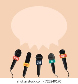breaking news vector on TV and live with Speech bubble & record. simple mic. Journalism on flat design gray background. concept & creative Microphone press & mike cartoon for media politic or sport