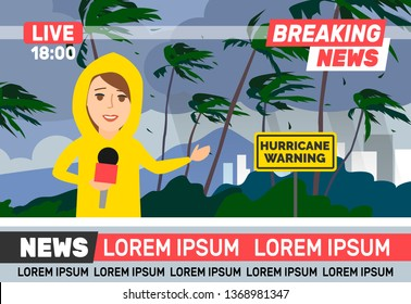 breaking news woman reporter journalist wearing yellow rain coat live broadcasting stormy weather hurricane  live translation