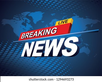 Breaking news with world map background. Vector