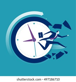 Breaking the time pressure. Businessman breaking a clock face. Business vector illustration