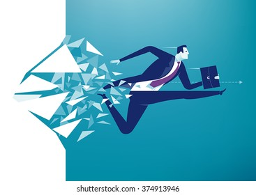 Breaking the wall. Business concept illustration.