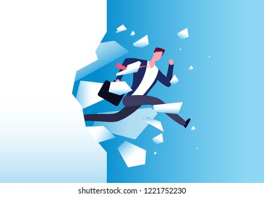 Breaking wall concept. Strong man jamps through barrier. Personal growth, business success and success motivation vector poster