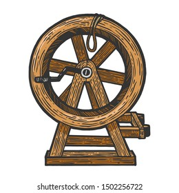 Breaking wheel medieval torture device sketch engraving vector illustration. Scratch board style imitation. Hand drawn image.
