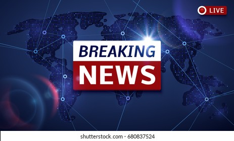 Breaking world news live vector tv background and internet video stream concept. Breaking news on tv, global news headline illustration