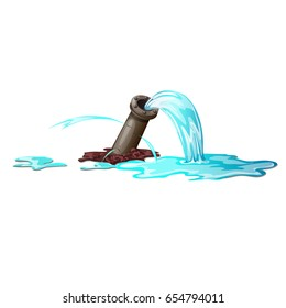Breakthrough of metal pipe and water leakage isolated on white background. Vector cartoon close-up illustration.