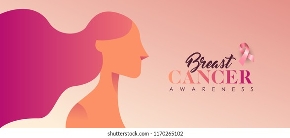 Breast Cancer Awareness banner illustration for love and support. Beautiful young woman with long hair in pink color. EPS10 vector.