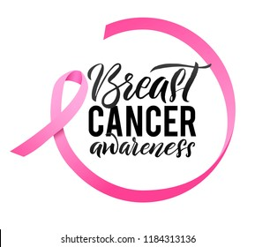 Breast Cancer Awareness Calligraphy Poster Design. Ribbon around letters. Vector Stroke Pink Ribbon. October is Cancer Awareness Month.
