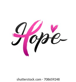 Breast Cancer Awareness Calligraphy Poster Vector  Design. Stroke Pink Ribbon. October is Cancer Awareness Month
