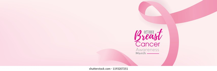 Breast cancer awareness campaign banner background with pink ribbon symbol and space for text
