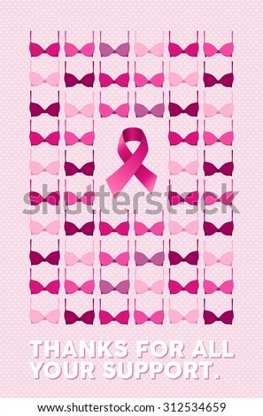 breast cancer awareness campaign poster thanks stock vector royalty