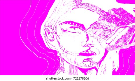 Breast Cancer Awareness Concept Illustration Vector. Woman Close Up Portrait on Pink Background