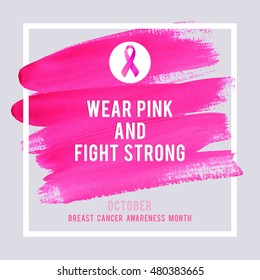 Breast Cancer Awareness Creative Pink Poster. Brush Stroke and Silk Ribbon Symbol. World October Breast Cancer Awareness Month Banner. Pink stroke and text. Medical Design