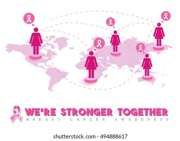 Breast cancer awareness design, pink women connected around the world for global support and community help. EPS10 vector.