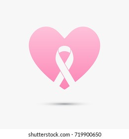 Breast cancer awareness design with pink heart and ribbon. Pink ribbon illustration for awareness campaigns, support and charity organizations.