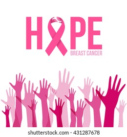 Breast cancer awareness with Hands sign and pink ribbon hope vector illustration