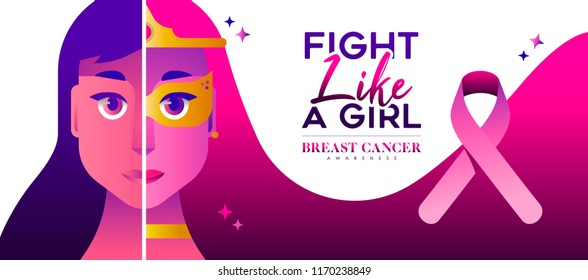 Breast Cancer Awareness illustration, fight like a girl concept for strong women survivor. Pink ribbon super hero woman design with special text quote. EPS10 vector.