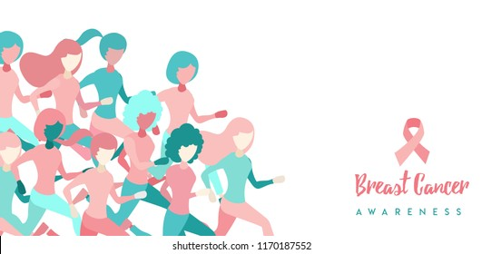 Breast Cancer Awareness illustration of women group running for charity marathon, benefit event or health support. EPS10 vector.