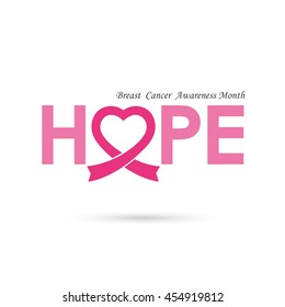 Breast cancer awareness logo design.Breast cancer awareness month icon.Realistic pink ribbon logo.Pink care logo.Hope word logo elements design.Vector illustration