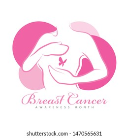Breast cancer awareness month banner with pink line style woman are Self Check For Breast Cancer and butterfly on the Breast vector design