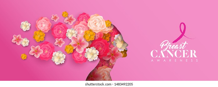 Breast Cancer Awareness month banner of papercut woman head silhouette with pink flowers. Paper cutout girl for campaign help, prevention or women support.