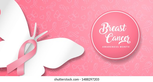Breast cancer awareness month banner illustration of pink silk ribbon and papercut butterfly for women help or support campaign.
