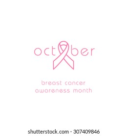 Breast Cancer Awareness Month Banner. Logo for poster. Message for women. Check yourself.
