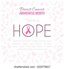 Breast Cancer Awareness Month Campaign Background with lettering Hope. Vector illustration