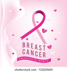 Breast cancer awareness month card. Pink ribbon vector illustration poster template.