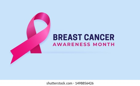 Breast Cancer Awareness Month clean poster background template design. Pink ribbon vector illustration paper cut style design