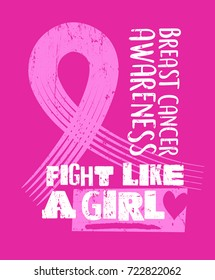 Breast cancer awareness month design with grunge text and ribbon. Fight like a girl. For t-shirt, poster, web banner, greeting cards