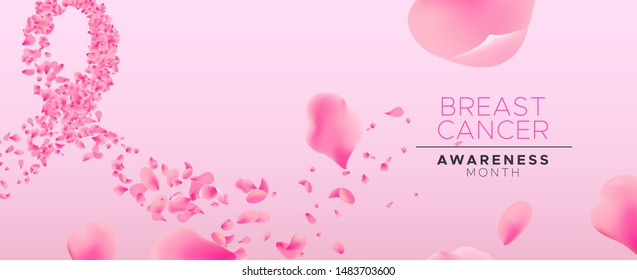 Breast Cancer awareness month floral banner illustration, pink ribbon shape made of rose flower petals for health campaign concept.