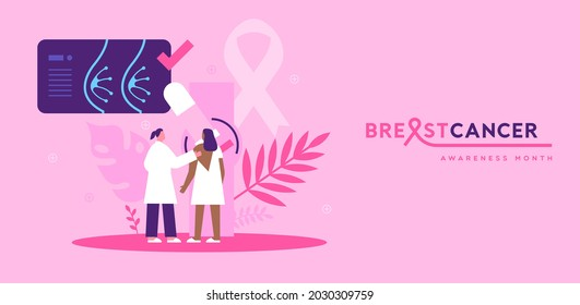 Breast cancer awareness month greeting card illustration. Young woman patient doing mammogram exam with female doctor in modern pink flat cartoon style for disease prevention.