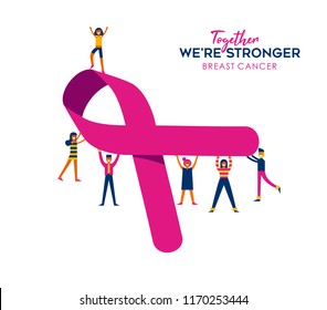 Breast Cancer Awareness month illustration of people friend group with big pink ribbon together for help and support, charity work concept. EPS10 vector.