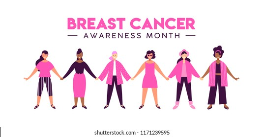 Breast Cancer Awareness Month illustration of girl friend group together for love and support. Diverse woman team holding hands, happy friends smiling concept. EPS10 vector.