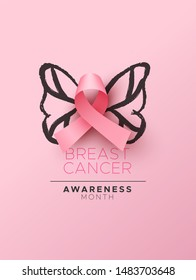 Breast Cancer awareness month illustration, realistic pink silk ribbon for women support and hand drawn butterfly wings. Feminine design concept of woman health campaign.