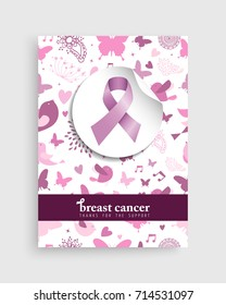 Breast cancer awareness month illustration with pink ribbon bow and cute nature decoration background for support campaign. EPS10 vector.