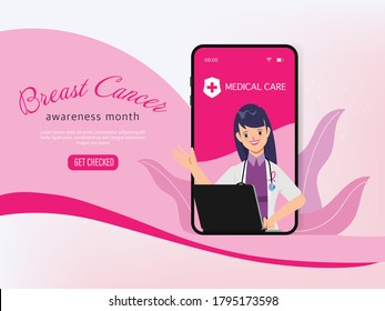 Breast cancer awareness month online doctor character.