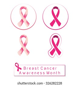 Breast cancer awareness month, pink ribbon set, with geometric patterned ribbon