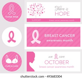 Breast Cancer Awareness Month and Pink Ribbon Symbols. Set of Vector Headers, Labels and Banners.
