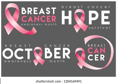 Breast cancer awareness month poster with pink ribbon