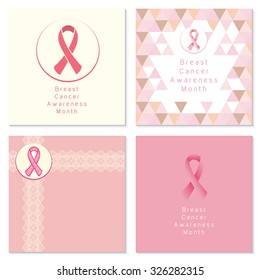 Breast cancer awareness month, set of page templates with ribbon icons